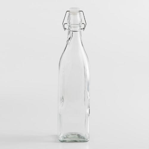 Square Glass Bottle With Clamp Stopper World Market