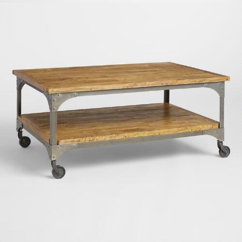 Cost Plus Table: Wood And Metal Aiden Coffee Table