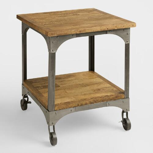 World Market Table: Wood And Metal Aiden End Table