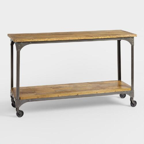 Cost Plus Industrial Coffee Table: Wood And Metal Aiden Console Table