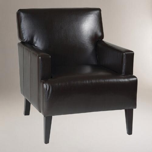 World Market Red Leather Chair: Leather Jonathan Armchair