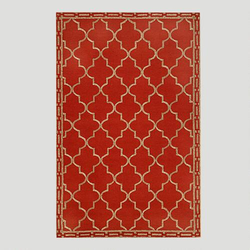 Red Floor Tile Indoor-Outdoor Rug | World Market - photo#33
