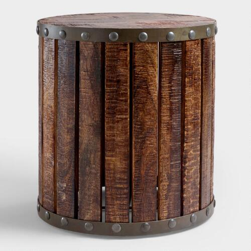 Cost Plus Table: Wood Plank Drum Table