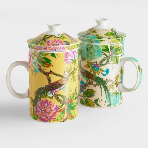 World Bazar: English Garden Infuser Mugs, Set Of 2