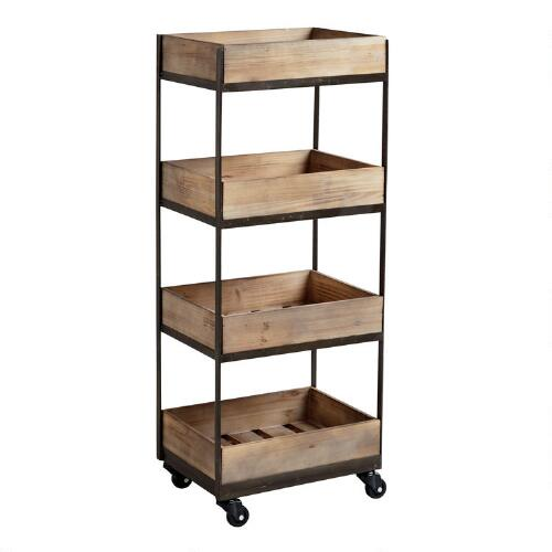 Wood And Metal Industrial Kitchen Cart: 4-Shelf Wooden Gavin Rolling Cart