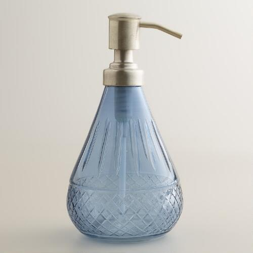 Blue cut glass soap dispenser world market for Blue glass bath accessories