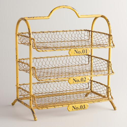 Yellow Austin 3 Tier Wire Tray World Market