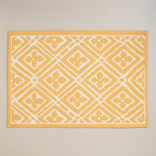 Yellow Geo Woven Bath Mat World Market