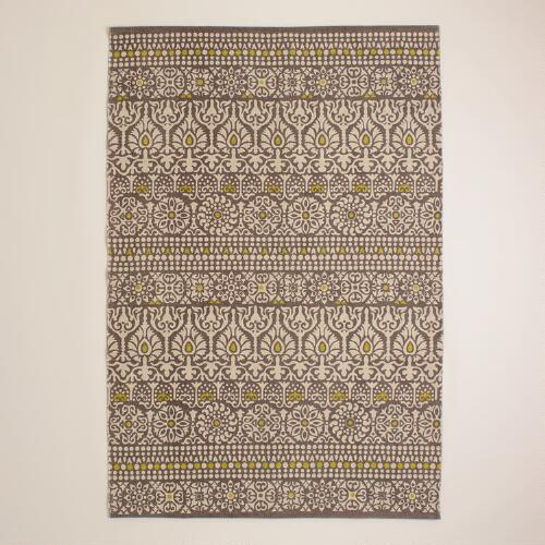 4'x6' Gray Floral Print Indoor-Outdoor Rug | World Market - photo#23