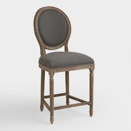 Charcoal Linen Paige Counter Stool World Market