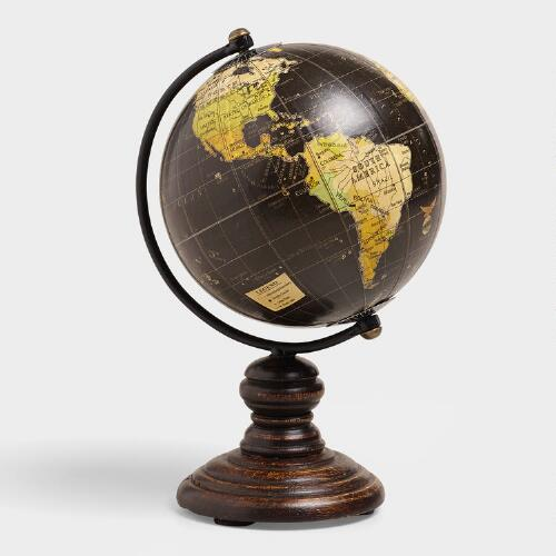 World Bazar: Mini Black Globe On Stand