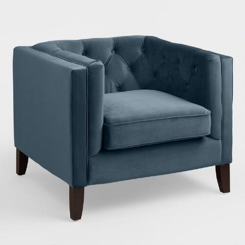 Midnight Blue Velvet Kendall Chair | World Market