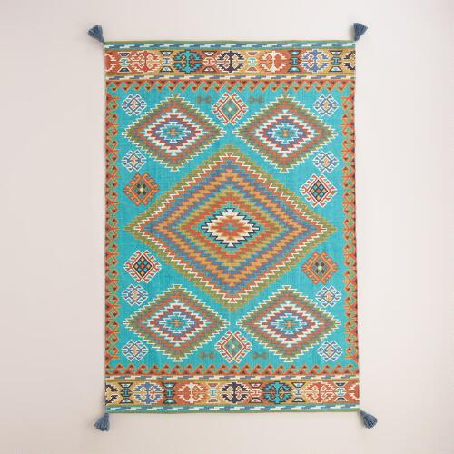 Blue Odina Kilim Flatweave Reversible Indoor-Outdoor Rug ... - photo#10