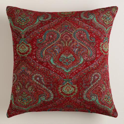 Jacquard Throw Pillows : Red Jacquard Caravan Throw Pillow World Market