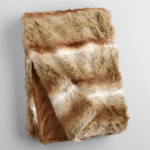 Brown Faux Fur Throw World Market