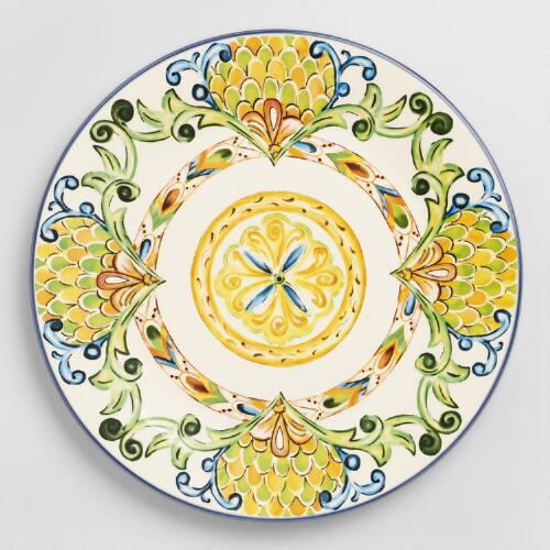 Costplus Com: Peacock Dinner Plates, Set Of 6
