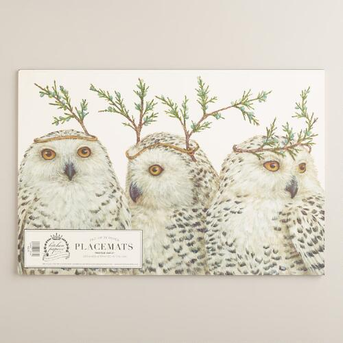 Festive Owls Kitchen Papers Kraft Placemats Book World Market