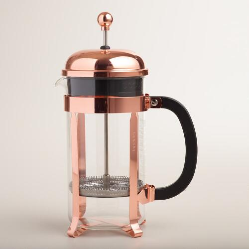 bodum chambord copper 8 cup french press coffee maker world market. Black Bedroom Furniture Sets. Home Design Ideas