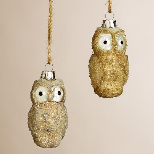Frosted glass owl ornaments set of world market