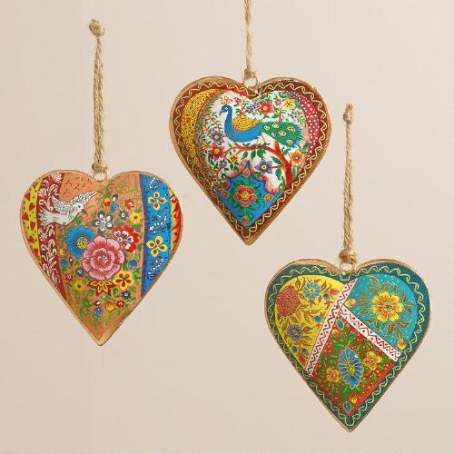 Indian patchwork metal heart ornaments set of world