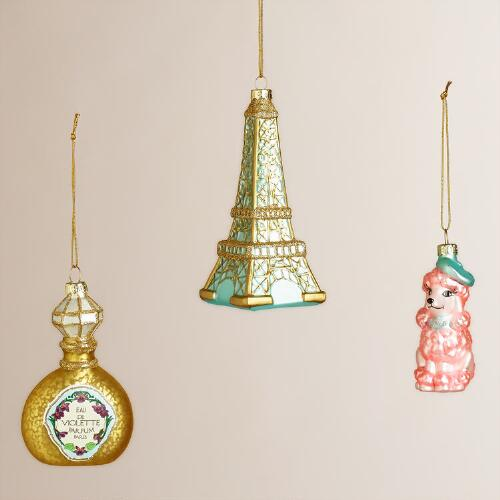 Glass France Boxed Ornaments, Set Of 3