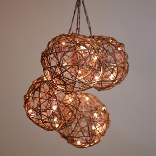 Rattan Orb Micro LED String Lights World Market