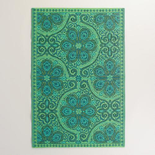 Green Blue Nomad Tiles Rio Indoor-Outdoor Mat | World Market - photo#4