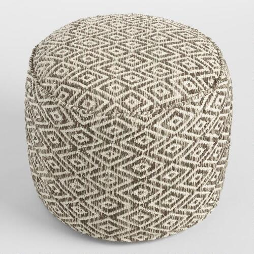 brown and white diamond wool pouf world market. Black Bedroom Furniture Sets. Home Design Ideas