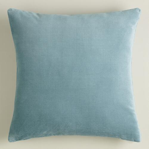 Blue Velvet Decorative Pillow : Steel Blue Velvet Throw Pillow World Market