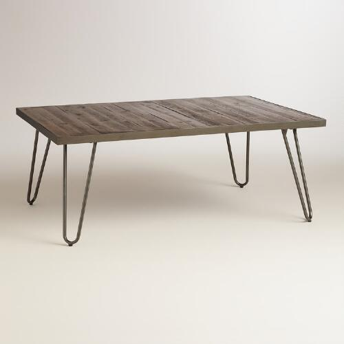 Coffee Table Wood And Metal Aiden Coffee Table World: Rectangular Wood Hairpin Coffee Table