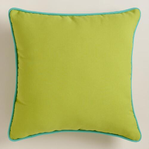 Green Outdoor Throw Pillow with Piping World Market
