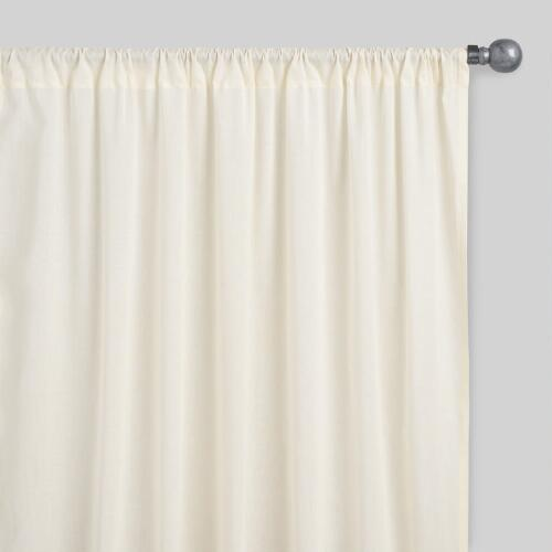Beige Sleeve Top Cotton Sheer Voile Curtains Set Of 2