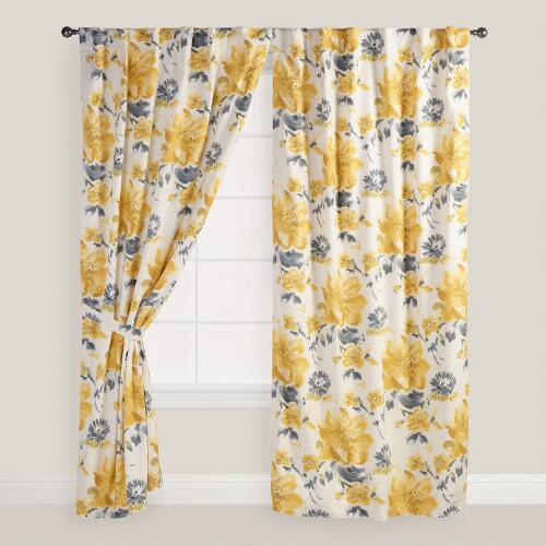 Yellow Gray And White Curtains: Yellow And Gray Floral Fleurs Curtains, Set Of 2