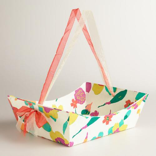 Handmade Paper Basket Dailymotion : Large floral louisa handmade paper gift basket world market