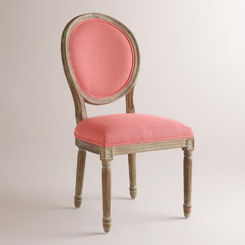 Coral Linen Paige Round Back Dining Chairs Set of 2