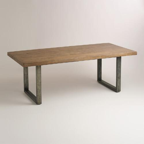 Wood and metal edgar dining table world market - Steel kitchen tables ...