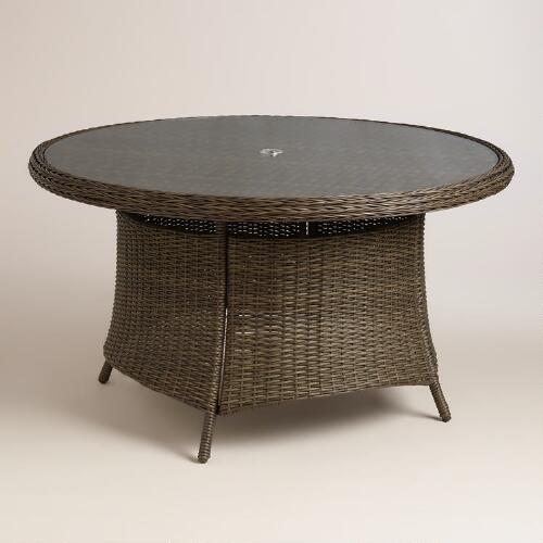 Round All Weather Wicker Solano Outdoor Dining Table World Market