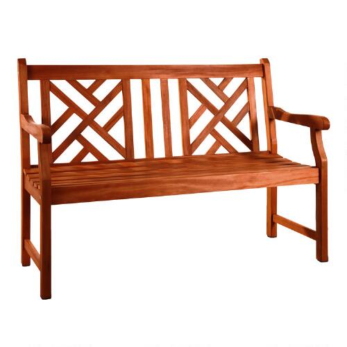 Small Wooden Bench : Small Eucalyptus Wood Mady Outdoor Bench  World Market