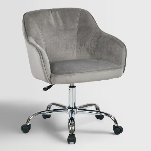Gray Velvet Jozy Home Office Chair