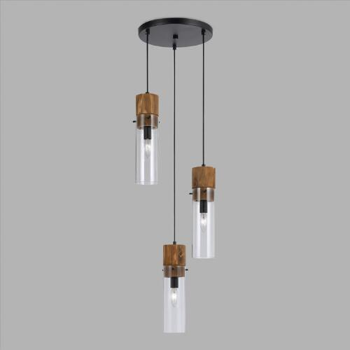 Wood And Glass Staggered 3 Light Pendant Lamp