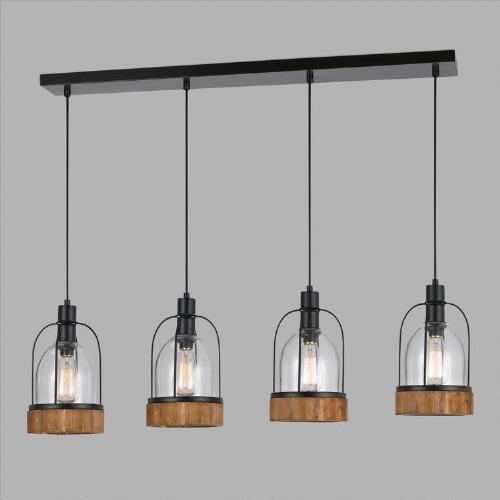 Wood And Glass Industrial 4 Light Pendant Lamp
