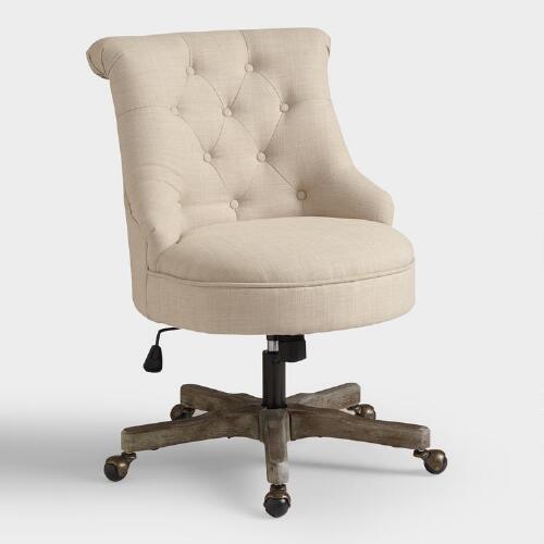 Natural elsie upholstered office chair world market - Natural Elsie Upholstered Office Chair World Market