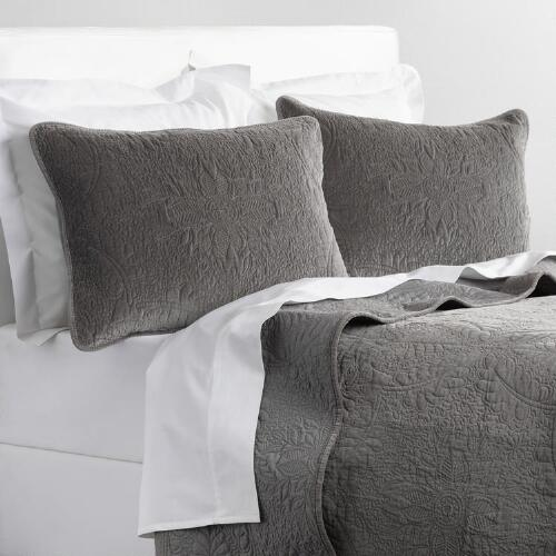 Gray Velvet Coverlet : Gray velvet bedding collection world market