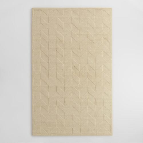 Chevron Rug Cream: Ivory Chevron Carved Wool Bennet Area Rug