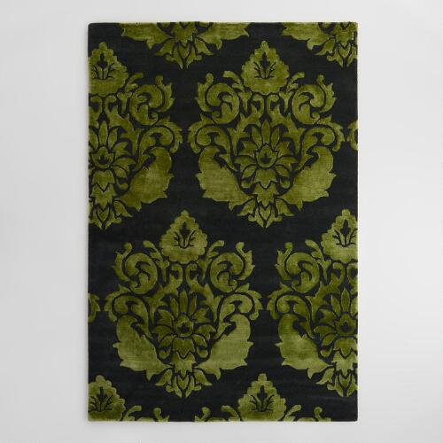 Green And Black Floral Tufted Wool Trissina Area Rug