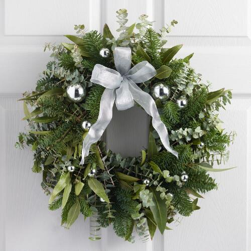 Live Holiday Fir And Ornament Wreath