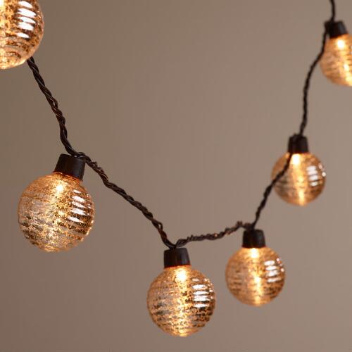 String Lights Standard Bulb : Silver Ribbed Mercury Glass Orb 10-Bulb String Lights World Market