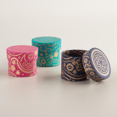 Small paisley handmade jewelry boxes set of 3 world market for Local handmade jewelry near me