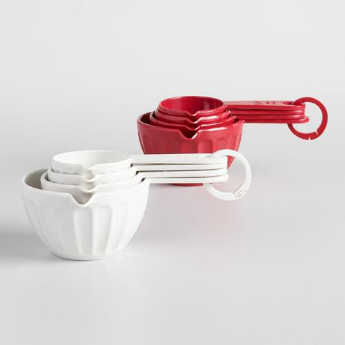 Measuring Spoons Near Me: Red And Mint 4-Piece Melamine Measuring Cups, Set Of 2