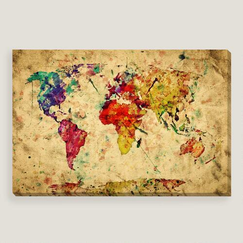 Vintage style world map wall art world market - Vintage inspired wall art ...